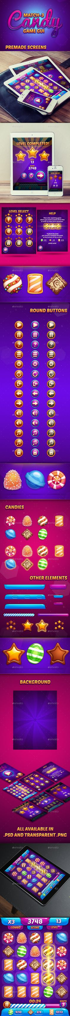 #Candy #Game #GUI On at http://graphicriver.net/item/match3-candy-game-gui/11787993?ref=graphicon