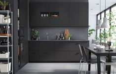 For truly sustainable kitchen fronts, discover the modern KUNGSBACKA from IKEA, made from recycled wood and covered with a plastic foil made from recycled PET bottles. Refacing Kitchen Cabinets, Black Kitchen Cabinets, Ikea Cabinets, Kitchen Doors, Black Kitchens, New Kitchen, Cabinet Refacing, Kitchen Grey, Kitchen Cupboard