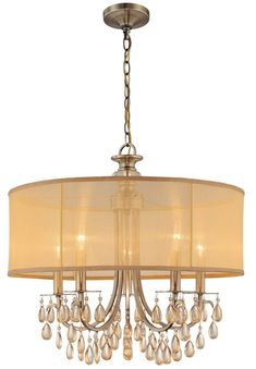 Crystorama Antique Brass Chandelier Accented with Etruscan Smooth Oyster crystals and Gold Silk Shimmer Shade 5 Lights - Antique Brass - 5625-AB