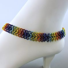 Rainbow Chainmaille Anklet, Chainmail Ankle Bracelet,  by HCJewelrybyRose on Etsy