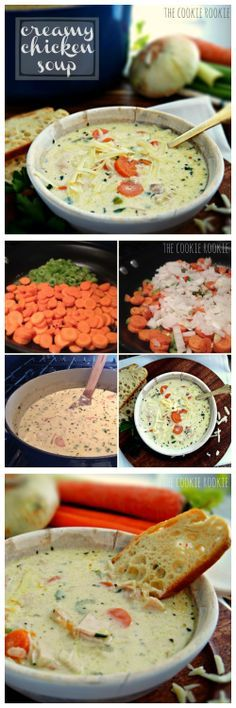 ) Creamy Chicken Soup---the absolute BEST soup on the planet! {The Cookie Rookie}Creamy Chicken Soup---the absolute BEST soup on the planet! {The Cookie Rookie} Cooking Recipes, Healthy Recipes, Healthy Soup, Milk Recipes, Cooking Tips, Healthy Eating, Chicken Soup Recipes, Chicken Soups, Soup And Sandwich