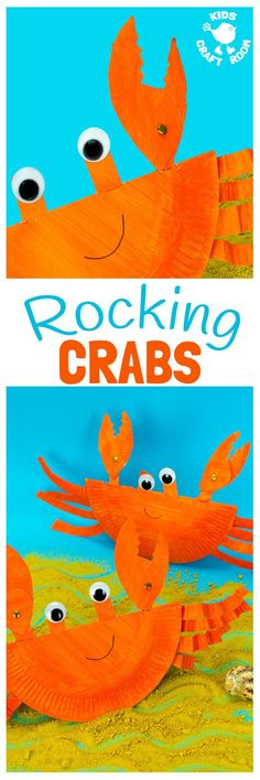 This interactive Rocking Paper Plate Crab Craft is a fun kids Summer craft. Children will love rocking and nipping with these adorable homemade crabs and their cheeky moveable pincers.