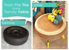 From a crafting challenge with the Home Depot, This blogger wrapped her tire in twine for a table.  You can do the same with your leftover yarn! You can crochet a cover for it too.