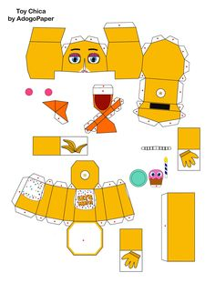 five nights at freddy's 2 Toy Chica papercraft pt1 by Adogopaper.deviantart.com on @DeviantArt