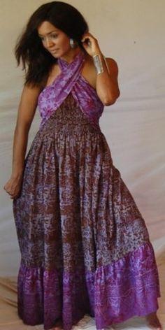 BROWN PURPLE DRESS HALTER RUFFLED TWIST BATIK « Dress Adds Everyday