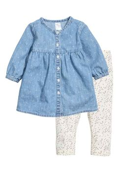Dress and leggings set. Dress in soft, washed, dot-patterned denim with buttons at front, gathered seam at top, and long sleeves with buttons at Baby Outfits, Toddler Outfits, Kids Outfits, Light Denim, Toddler Fashion, Fashion Kids, Frocks For Girls, Girls Dresses, Legging Bleu