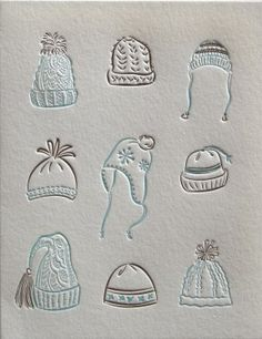 """Fun """"Winter Hats"""" letterpress card from Elum. Funny Christmas Cards, Christmas Art, Holiday Cards, Best Winter Hats, Ink Illustrations, Simple Illustration, Christmas Stationery, Letterpress Invitations, Scrapbooking"""