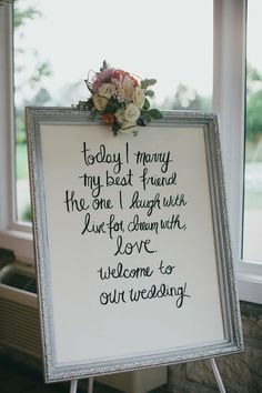 Wedding Sign Inspiration. DIY your wedding signs with flowers, decorations and supplies from Afloral.com. Chrystl Roberge Photography Read more - http://www.stylemepretty.com/illinois-weddings/2013/08/20/vintage-wedding-in-wheaton-illinois-from-chrystl-roberge-photography/