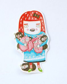 GUINEA GIRL - sticker - girl with guinea pigs