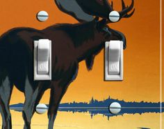 MOOSE in Sunset Vintage Poster Switch Plate (single or double) - - FREE SHIPPING - -