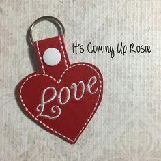 Love Heart Keychain  Zipper Pull  Snap Tab by ItsComingUpRosie