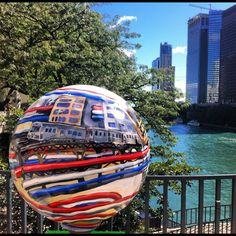 Chicago Golf Ball Art on Michigan Avenue along the Chicago River!