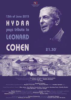 Célébration (hommage-concert) du 80e anniversaire de Leonard Cohen sur l'île de #Hydra, le samedi 13 juin à 21h30