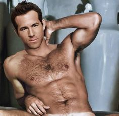 Ryan Reynolds. Wahw - just the right amout of hair on his chest NEVER NEVER shave it again please!