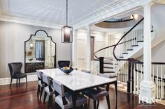 Leather Chairs and Custom Dining Room Table