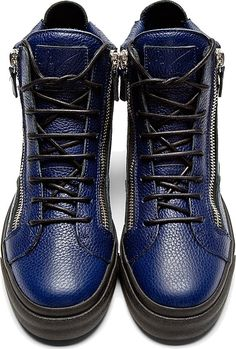 cd08ad146f1e Comme des Garçons · Giuseppe Zanotti Blue Grained Leather High-Top Sneakers  Leather High Tops