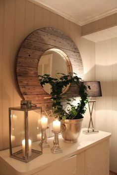 Haus Dekoration corridor decor decoration corridor mirror with frame made of wood candles plant Ratt Candle Plant, Hall Decor, Chic Decor, Home Decor, Gothic Home Decor, Hall Mirrors, Shabby Chic Bedrooms, Mirror Wall, Mirror