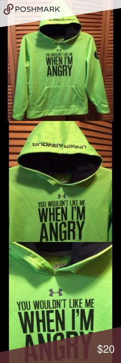 Under Amour Hoodie Bright green hoodie with fleece lining, front pockets, hood lined with black material with UNDER ARNOUR written on the hood, polka dot lettering: YOU WOULDN'T LIKE ME WHEN I'M ANGRY on the front, Marvel logo on the left sleeve. Youth Extra Large. 100% polyester. Excellent condition. Under Armour Shirts & Tops Sweatshirts & Hoodies