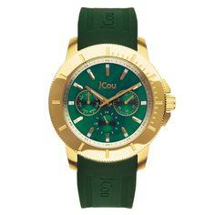 Γυναικείο ρολόι JCou της σειράς Sea Cost με καουτσούκ λουράκι σε πράσινο  χρώμα και κάσα από 9f968c2342c