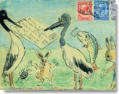 Sir Henry Thornhill, illustrated envelope, 1920s: Mr & Mrs Stork and friends