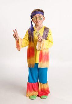 DisfracesMimo, disfraz hippie colorido para niño varias tallas. Los pequeños de la casa se convertirán en seguidores del movimiento pacifista de paz y amor.Este disfraz es ideal para tus fiestas temáticas de disfraces hippies Años 60,70 y 80 para niños infantiles