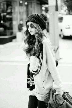 Oversized sweater. Beanie. Waves. Ready for fall!