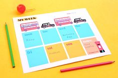London bus and taxi designs for a printable weekly planner PDF Planner Pdf, Weekly Planner Template, Printable Planner, Party Printables, Craft Decorations, Decor Crafts, Fun Crafts, Planners, Worksheets