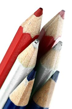 Red white and blue pencils. View on blackmagic MacroMonday: Theme: Red white and blue. Image Crayon, Crazy Colour, Colour Colour, Coloring Tutorial, Coloured Pencils, Color Pencil Art, Old Glory, Blue Tones, Pretty Art