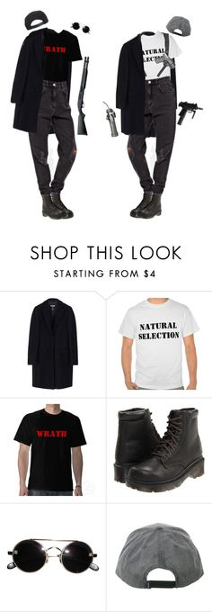 """Reb and VoDKa"" by auroralaufeyson ❤ liked on Polyvore featuring MSGM, Dr. Martens and Brixton"