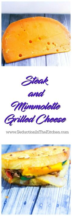 Steak and Mimmolette Grilled Cheese was created for #NationalGrilledCheeseDay. The combination of seasoned steak with the delicious semi-firm #Mimmolette cheese that has a sharp and nutty flavor is wonderful together. #makeitmagnifique #frenchcheese via @SeductionRecipe