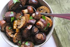 Eat Mushrooms | mushrooms, garlic, shallots, lemon, parsley, olive oil, balsamic vinegar, s&p, chili flakes