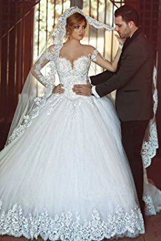 Sweetgirl White Lace Wedding Dresses with Long Sleeve Royal Train (22w)