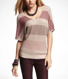 LUREX STRIPE DOUBLE V-NECK SWEATER at Express  SOOO cute, so many options! rick chocolate pants, or skinnies, or dark red ones like model, match with dark brown shoes,