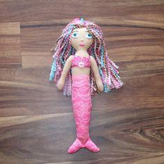 OOAK Blue Eyed Tan Mermaid Handmade Keepsake Felt Plush Doll. A beautiful doll for mermaid lovers of all ages. Click thru to see all 3 mermaids in this series!