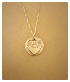 Fine silver clay Love Heart pendant Be Mine