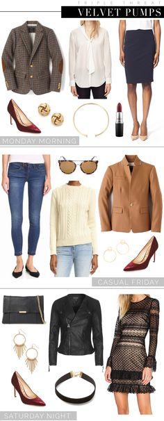 How to wear velvet heels!  Three ways to wear burgundy red velvet pumps from workweek to weekend!