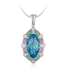 Color Stone Pendant 14K White Gold with 0.40cts.T.W. of Diamond Accents,0.76cts.T.W.of Pink Sapphire & Tsavorite,Center set for 25.5x12.9x8.3mm Marquise cut London Blue topaz
