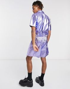 Shop One Above Another utility shorts jumpsuit in metallic purple at ASOS. Order now with multiple payment and delivery options, including free and unlimited next day delivery (Ts&Cs apply). Short Jumpsuit, Shirt Dress, T Shirt, Must Haves, Latest Trends, Asos, Metallic, Shorts, Purple