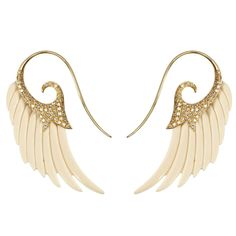 £4,400 Fly Me to the Moon Mammoth Bone Diamond Gold Wing Earrings