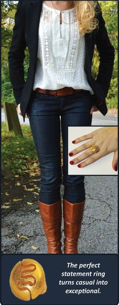 The sloris 'Remains' ring in matte gold steel with a blazer and jeans combo pinned from the Jennifer Rizzo blog