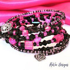 RaVa Designs: Heart Charm Stacked Bracelet ~ Handmade Chunky Pink and Black Layered Jewelry Chunky Jewelry, Layered Jewelry, Diy Bracelet Storage, Jewelry Rack, Black Layers, Chalkboard Art, Wooden Jewelry, Handmade Wooden, Handmade Bracelets