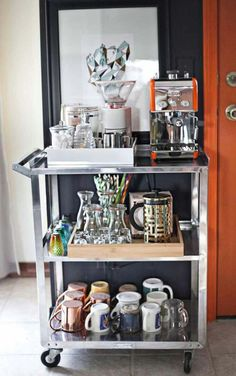 Coffee Bar Station, Coffee Station Kitchen, Home Coffee Stations, Tea Station, Wine Station, Beverage Stations, Beverage Cart, Drink Cart, Emma's Kitchen