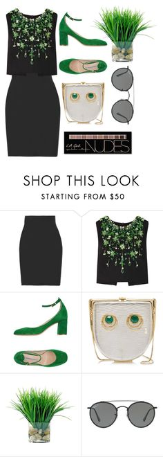 """Black + Green"" by cherieaustin ❤ liked on Polyvore featuring Yummie by Heather Thomson, Miu Miu, Roberto Festa, Inés Figaredo, Ray-Ban and Charlotte Russe"