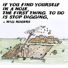 if you find yourself in a hole, the first thing to do is stop digging. –will rogers   RAW FOR BEAUTY