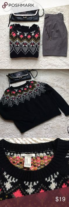 🎀NWOT🎀 Forever 21 Comfy Sweater This Sweater is perfect for fall/winter! Cute hot pink, grey, gold, & cream pattern on this black sweater. Size M true to size. Forever 21 Sweaters Crew & Scoop Necks