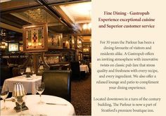 The Parlour in Stratford ontario, home of the stratford shakespeare festival Stratford Shakespeare, Stratford Ontario, Shakespeare Festival, Parlour, Fine Dining, Spaces