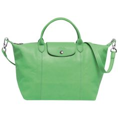 Handbag - Le Pliage Cuir - Handbags - Longchamp - Green - Longchamp International