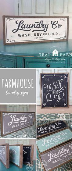 Farmhouse laundry signs