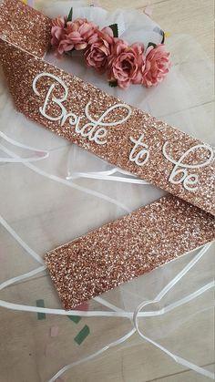 ROSE GOLD Bride to be sash pinky rose gold glitter handmade