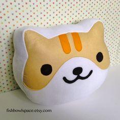 Neko Atsume cat face pillow / cushion choose by fishbowlspace